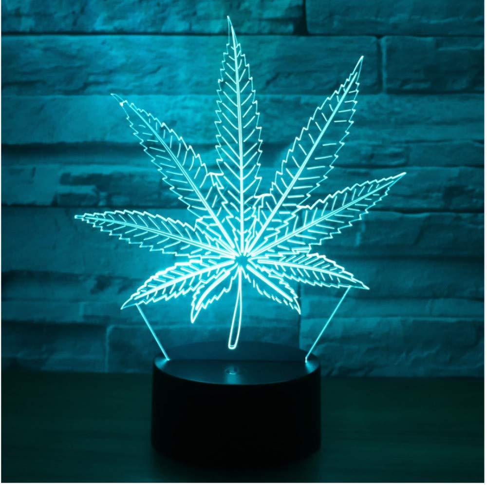 3D Led Nachtlicht Hanfblatt Mit 7 Farben Licht F/ür Heimtextilien Lampe Erstaunliche Visualisierung Optische T/äuschung Ehrf/ürchtig