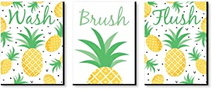 Big Dot of Happiness Tropical Pineapple - Kids Bathroom Rules Wall Art - 7.5 x 10 inches - Set of 3 Signs - Wash, Brush, Flush