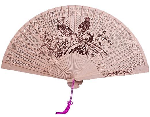Namgiy Abanicos de madera diseño de flor china, abanicos plegables ...