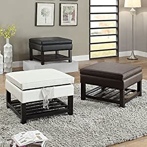 Faux leather bedroom hallway lift top storage ottoman bench slats bottom shelf - Bench at bottom of bed ...