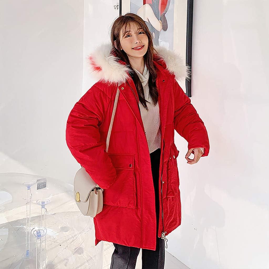 JURTEE Cappotto Donna Invernale Lungo Giacca Felpa con Cappuccio Donna Tumblr Lunghe più Velluto Ispessito Trench Larghe Piumino Giubbotto Rosso