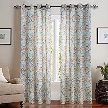 Damask Printed Curtains For Bedroom Multicolor Linen Textured Light Reducing Medallion Window Curtain Panels Living