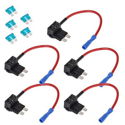 E Support 12V 24V Standard Add A Circuit Fuse Tap Piggy Back Blade Holder Plug Socket Car Pack of 5: Automotive