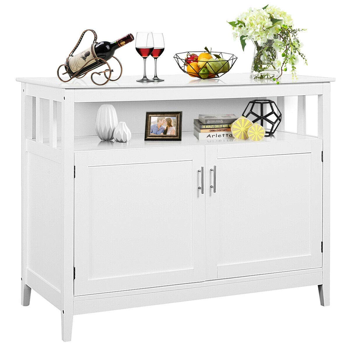 Costzon Kitchen Storage Sideboard Dining Buffet Server Cabinet Cupboard, Free Standing Storage Chest with 2 Level Cabinets and Open Shelf, Adjustable Middle Shelf for Home, Dining Room White
