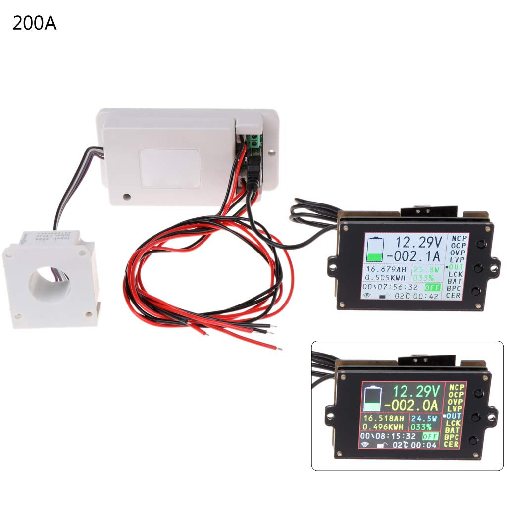 Youngy DC 500V 100A 200A 500A Wireless Voltmeter Ammeter Coulometer Battery Power Meter - 200A by Youngy