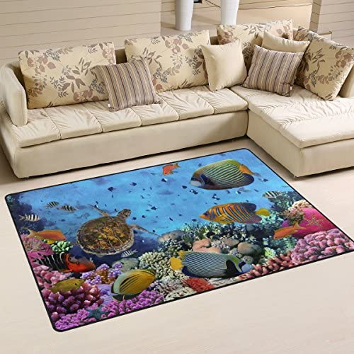 WOZO Colorful Coral Reef Sea Turtle Fish Area Rug Rugs Non-Slip Floor Mat Doormats for Living Room Bedroom 60 x 39 inches