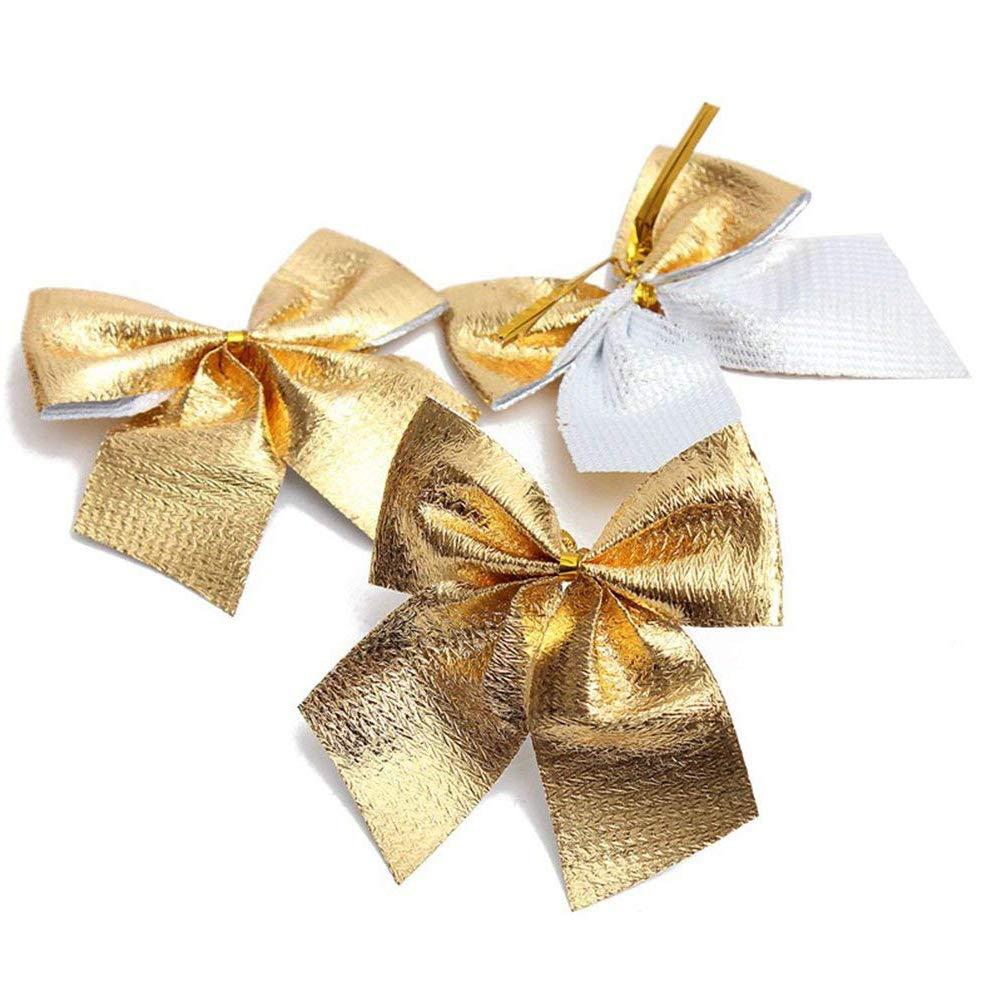 Qiuyan 24 Pieces 2 Ribbon Bows Small Christmas Bowknot Velvet Ribbon Bows Christmas Tree Decoration Set Red and Gold