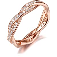 925 Sterling Silver Cubic Zirconia Engagement Wedding Eternity Rose Gold-Plated Rings for Women