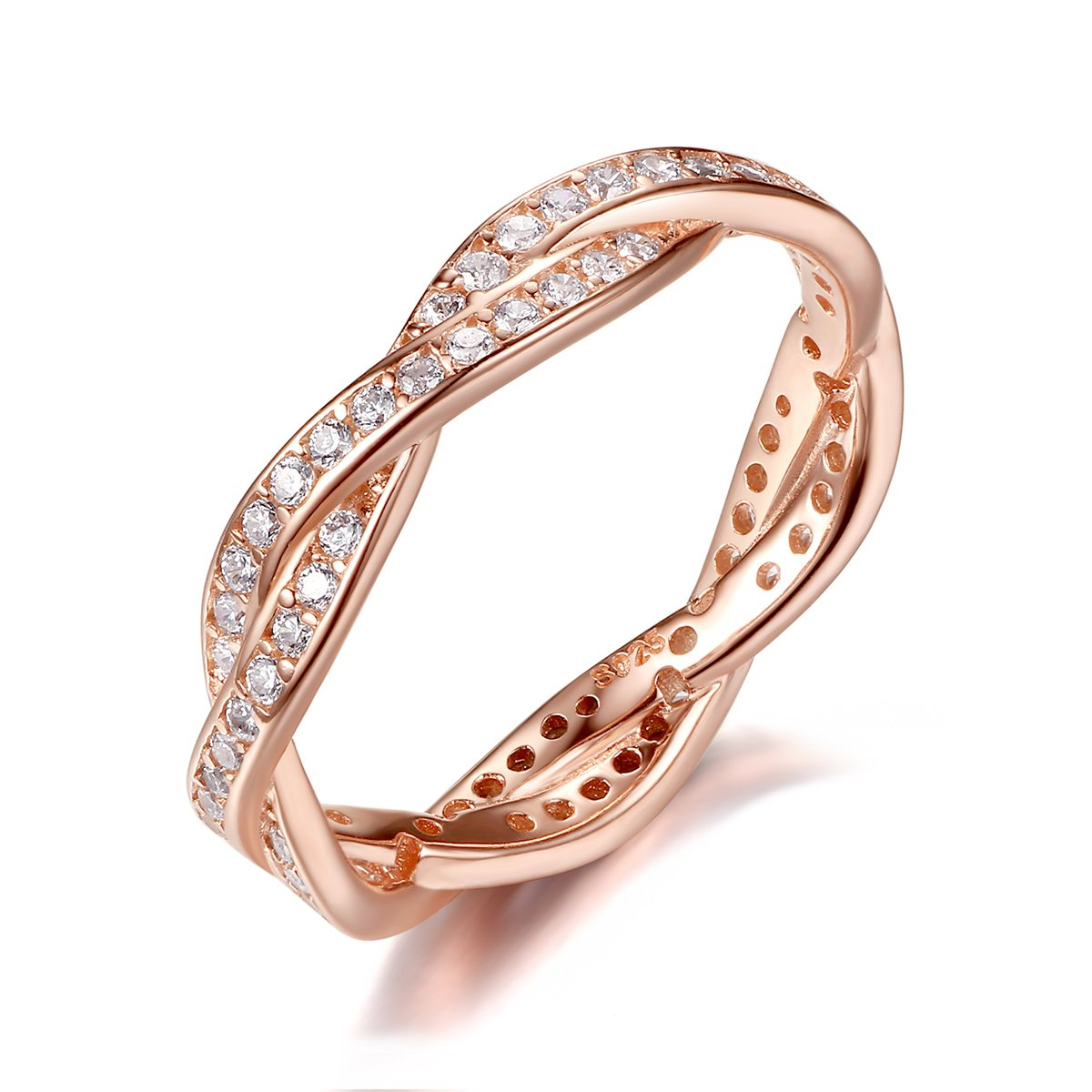 BAMOER Rose Gold Plated Eternity Promise Rings Wedding Jewelry 925 Sterling Silver with CZ,Size 7
