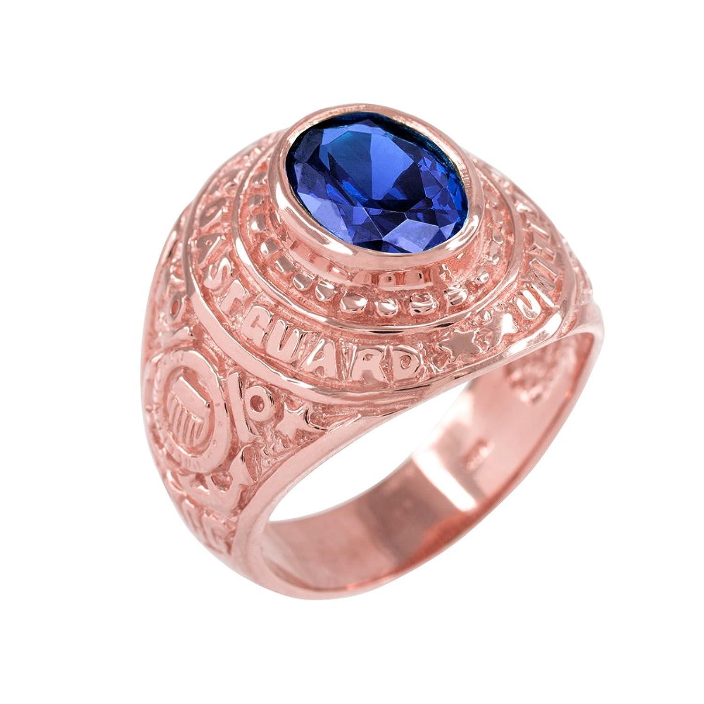 September CZ Birthstone US Coast Guard Men\'s Ring in Solid 14k Rose ...