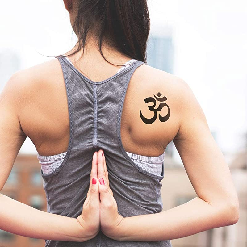 Om símbolo de yoga - Tatuaje temporal (conjunto de 2): Amazon.es ...