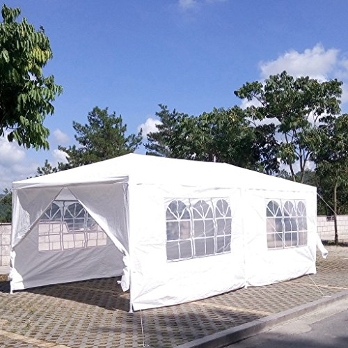Z ZTDM Wedding Party Tent Outdoor White Canopy Screen Sun Shelters Houses Gazebos with Removable Sides Sidewalls for BBQ Carport (10' x 20' with 4 sidewalls & 2 doors)
