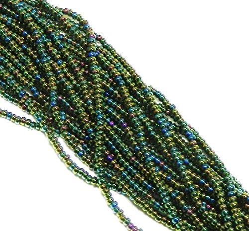 (Czech 11/0 Traditional Glass Seed Beads 6 String Hank Preciosa 100 Colors U-Pick Iris Green)