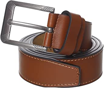 DH Genuine Leather Single Metal Tongue Buckle Classic Belt for Men
