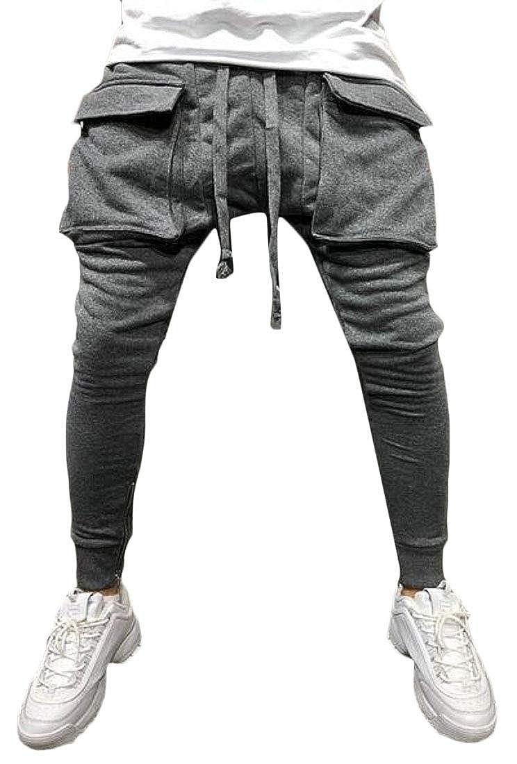 Fensajomon Mens Sport Zip Trim Hip Hop Big Pockets Gym Workout Jogger Pants Sweatpants