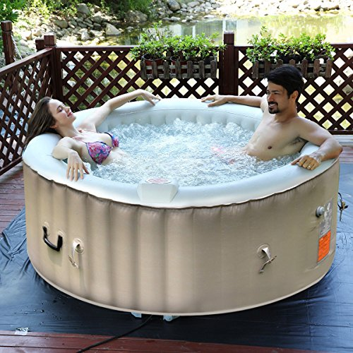 Goplus 4 Person Portable Inflatable Hot Tub for Outdoor Jets Bubble Massage Spa Relaxing w/ Cover & Filter Cartridge Accessories Repair Kit (White) by Goplus