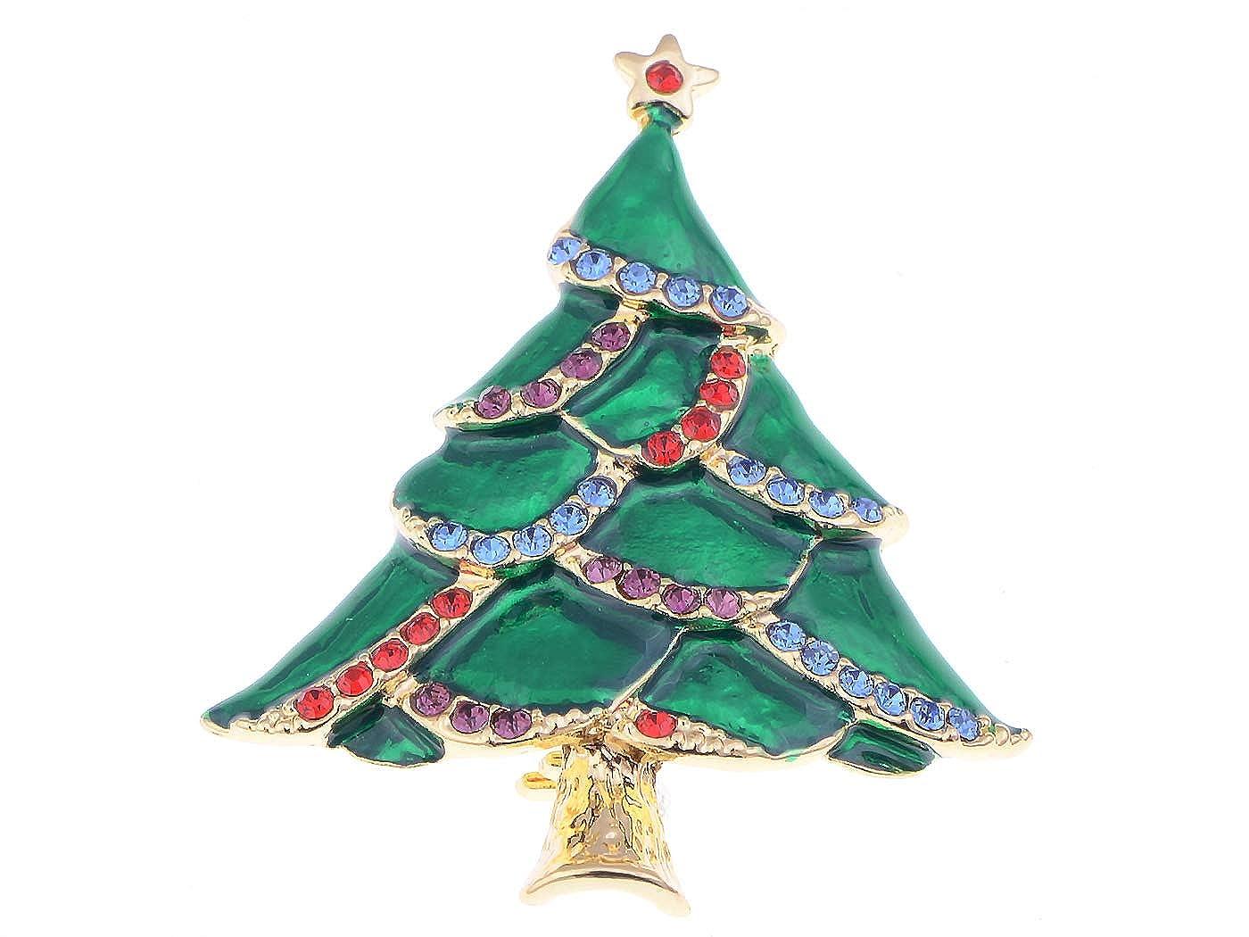 Alilang Silvery Tone Green Rhinestones Holiday Christmas Tree Star Brooch Pin