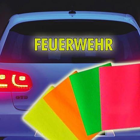 Neon Leucht Feuerwehr Aufkleber Heckscheibe Tuning Neonfarbe Leuchtet Grell 30 X 5 Cm Auto
