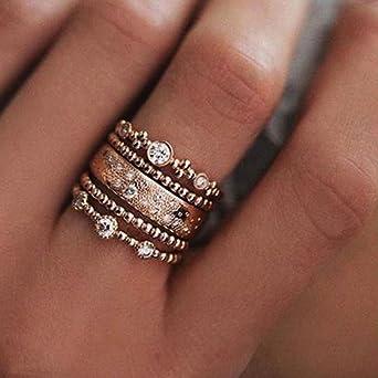13PCS//Set Gold Silver Retro Ethnic Rhinestone Personality Finger Stack Rings Set