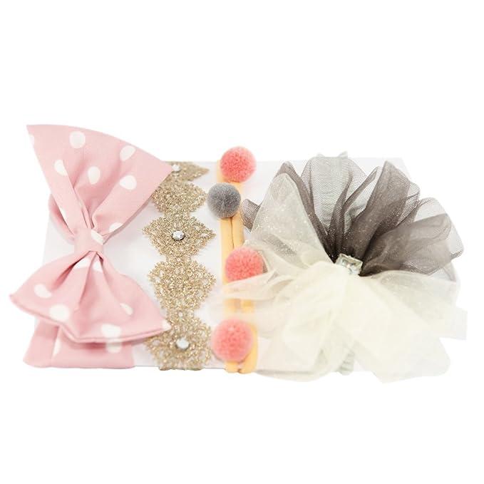 Ana AB Diademas de bebé para niñas, diadema de lazo rosa, diadema de encaje