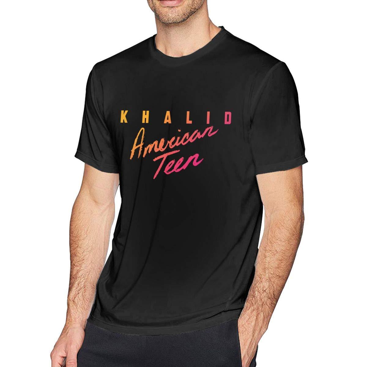 FengYuqi Khalid American Teen Mans Classic Short Sleeve T-Shirt Athletic Cool Running T-Shirt Black