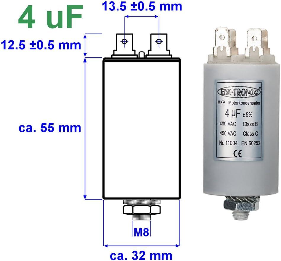 EDI-TRONIC condensatore di avviamento per motore 1/µF 450V presa M8 cavo
