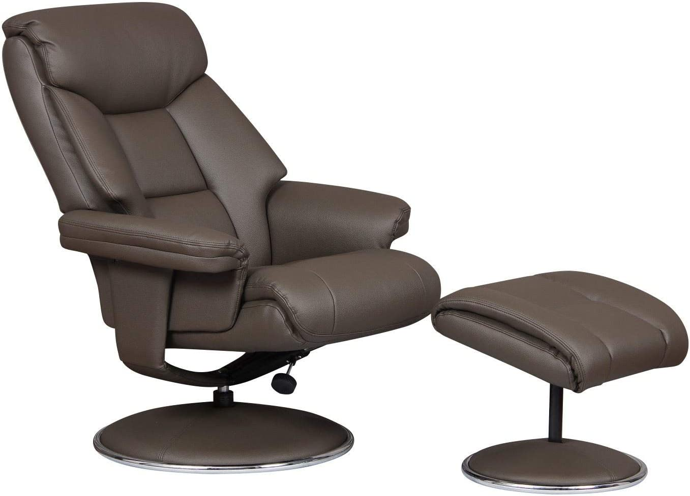 GFA Biarritz Plush Swivel Recliner Chair /& Matching Footstool In Charcoal//Chrome