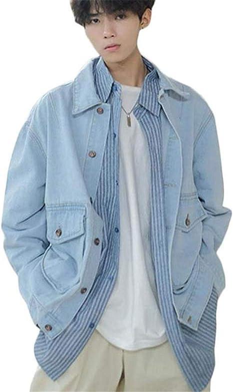 [エージョン]メンズ 長袖 ゆったり デニムジャケット ポケット付き ボタン ファッション カジュアル ヴィンテージ アウター ストリート系