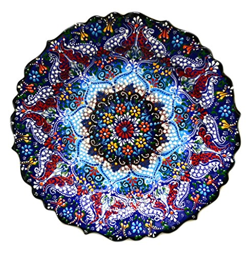 Turkish Ceramics~Hand Painted Ceramic Plate~Navy 12inch/30cm