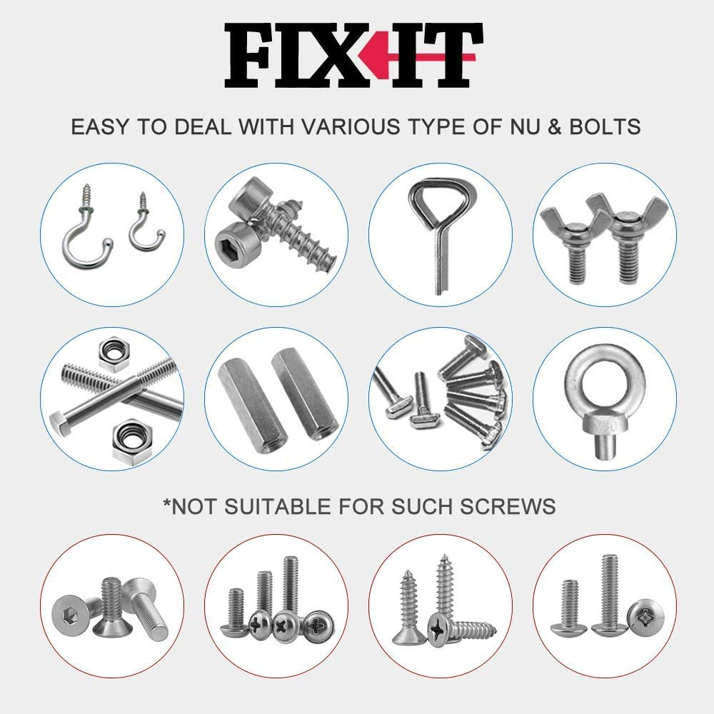 FIX-IT Universal Socket Wrench 7-19mm Multi-Function Fastener Universal Repair Tool Power Drill Adapter Set Self-Adjusts Professional Grip Socket Spanner with Power Drill Connector