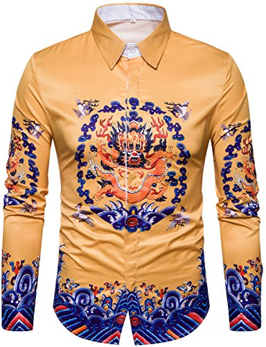 WHATLEES Mens Luxury Ancient Chinese Dragon Printed Long Sleeve Slim Fit Casual Button Down Dress Shirts Tops T08-T4435-Large