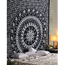 Tapestry Black and White Elephant Indian Wall Hangings Home Decorative Cotton Mandala Curtains Bihemian bedspread Picnic tapestries By Rajrang
