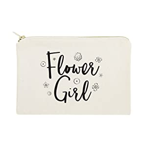 The Cotton & Canvas Co. Flower Girl Wedding Cosmetic Bag, Bridal Party Gift and Travel Make Up Pouch