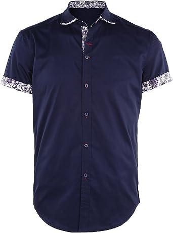 JEETOO Camisas Hombre Casual Manga Corta Estampadas de Flores: Amazon.es: Ropa y accesorios