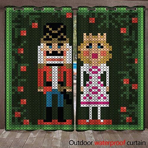 RenteriaDecor Home Patio Outdoor Curtain x Stitch Christmas Card with Nutcracker and Princess W72 x L108