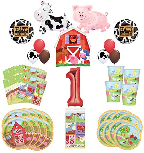 Farm Animal Party Supplies 8 Guests 1st Birthday Balloon Bouquet Decorations by Mayflower Products