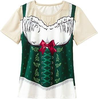 COSAVOROCK Disfraz de Dirndl Oktoberfest para Mujer Camiseta Estampada