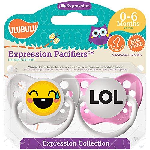 Ulubulu Girl Pacifier, LOL Emoji, 0-6 Months