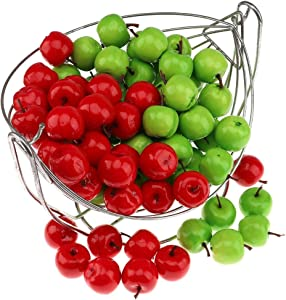 Gresorth 100pcs Artificial Green & Red Apples Fake Fruit Apple Home Party Christmas Tree DIY Decoration Model