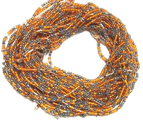 VIntage Ghana Orange and Grey waist seed Beads Glass African Trade ()