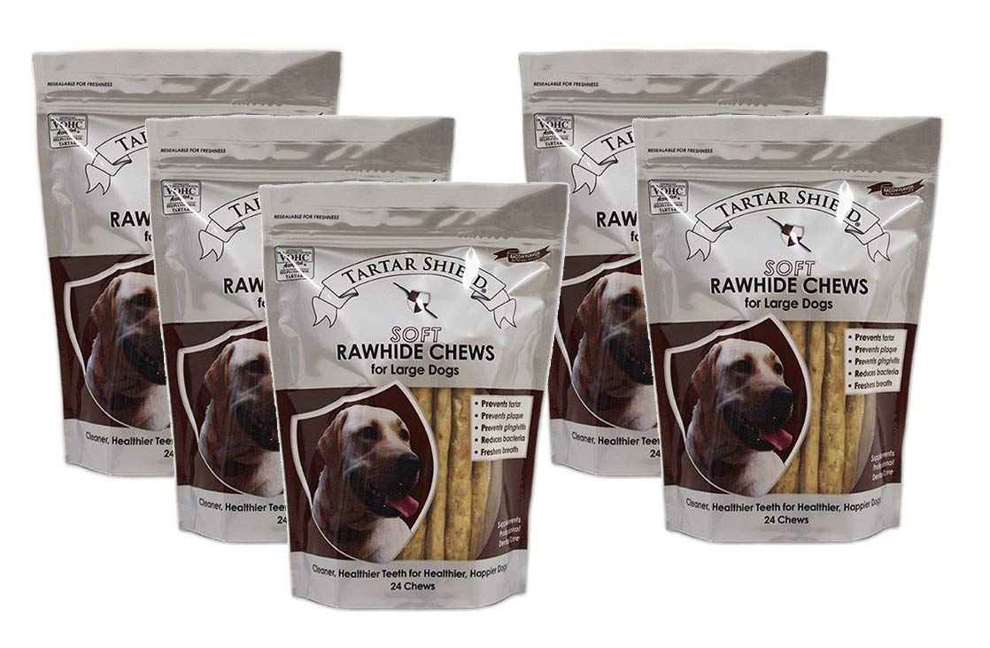 Tartar Shield Soft Rawhide Chews for Large Dogs 24 Count - Prevents Tartar, Plaque, Gingivitis, Reduces Bacteria, and Freshens Breath 5 Pack