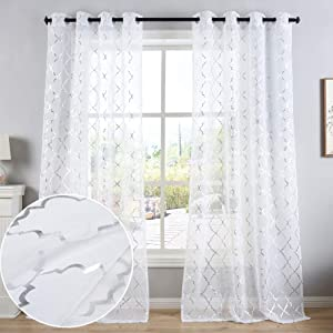 Kotile White Window Sheer Curtain Panels for Bedroom - Silver Moroccan Tile Print Ring Top Semi Voile Drapes for Living Room, 52 x 95 Inch, Set of 2 Panels