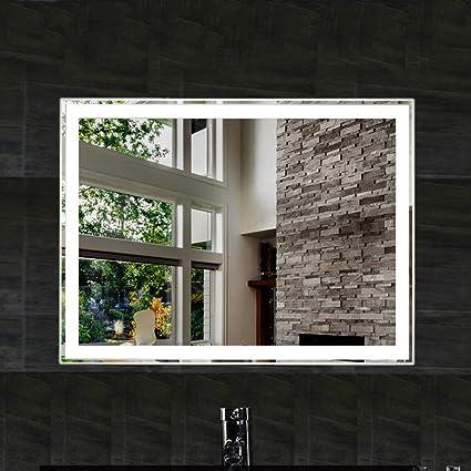 Amazon.com: ZXXX - Espejo de baño con luz LED de 32 x 24 ...
