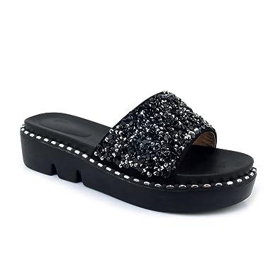 4252f08d8a4e39 Btrada Women s Fashion Sequins Slide Sandals Summer Wedges Non-Slip  Platform Open Toe Slip On
