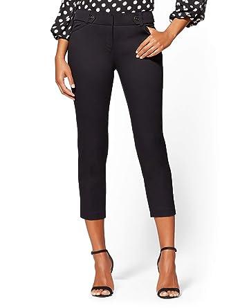 3c97fcc500da Amazon.com: New York & Co. Slim Leg Crop Pant - Button Waistband ...
