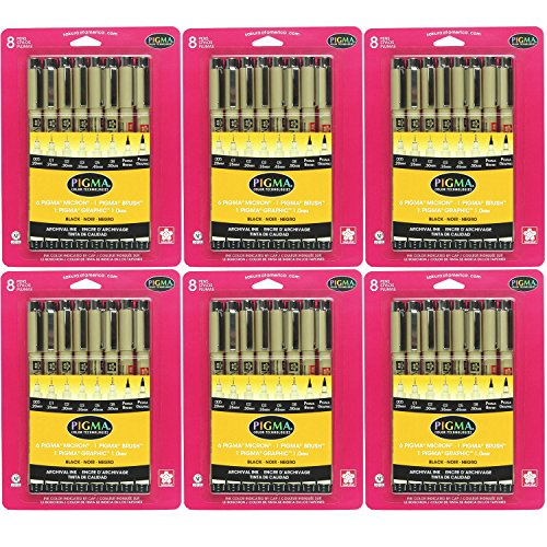 Sakura 30067 8-Piece Pigma Brush Pen Set, Black (6-PACKS) by Sakura