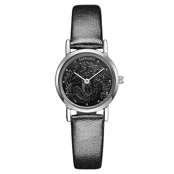 Longbo resistente al agua analógico reloj de cuarzo Pareja Relojes Mujer vestido pulsera de piel banda