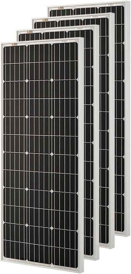 Richsolar 4pcs 100 Watt 12 Volt Monocrystalline Solar Panel with MC4 Connectors 12 Volt Battery Charging RV, Boat, Off Grid