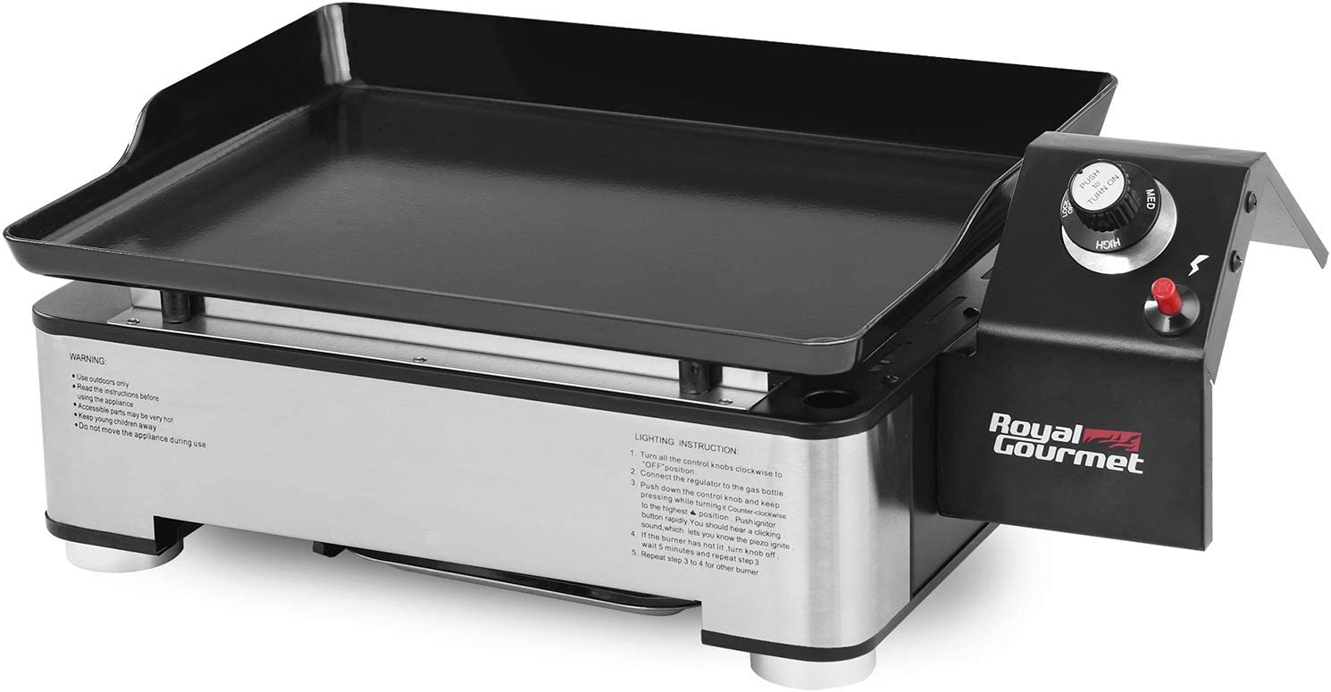Royal Gourmet PD1202S 17-Inch Portable Table Top Propane Gas Grill Griddle for Camping, Sliver