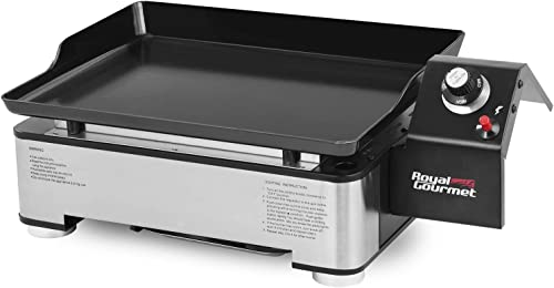 Royal Gourmet PD1202S 18-Inch Portable Table Top Propane Gas Grill Griddle for Camping, Sliver